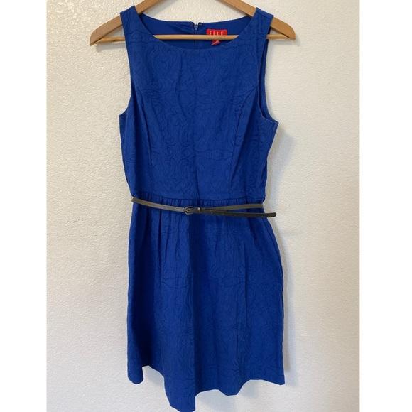 Elle Dresses & Skirts - Elle Navy Blue Lace Pattern Dress